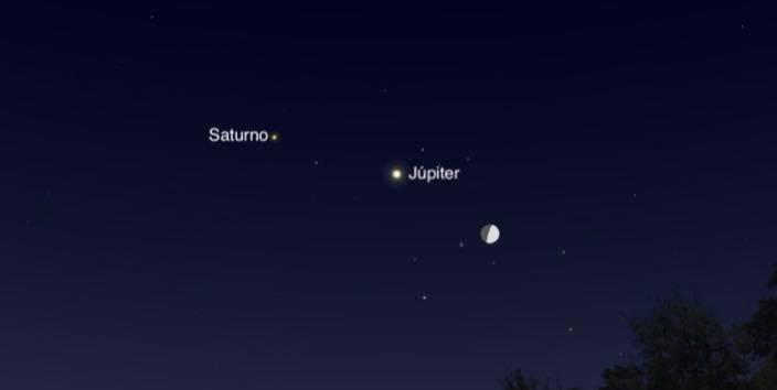 Esta noche se podrá ver en el cielo a la Luna, Júpiter y Saturno, será realmente hermoso.🌌 ¡Les deseo cielos despejados a todos! https://t.co/BOmsnIW6vs