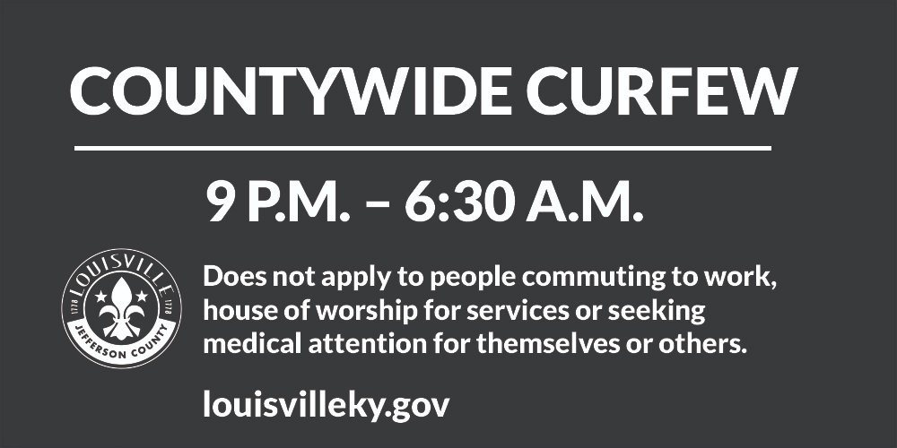 Louisville Metro will again be under a curfew beginning at 9 tonight (9/24) until 6:30 a.m., as we seek to balance First Amendment rights with the need for public safety. If you're out, please begin heading home now.    https://t.co/FszRdhSc5E https://t.co/Sm6JTVK5ub