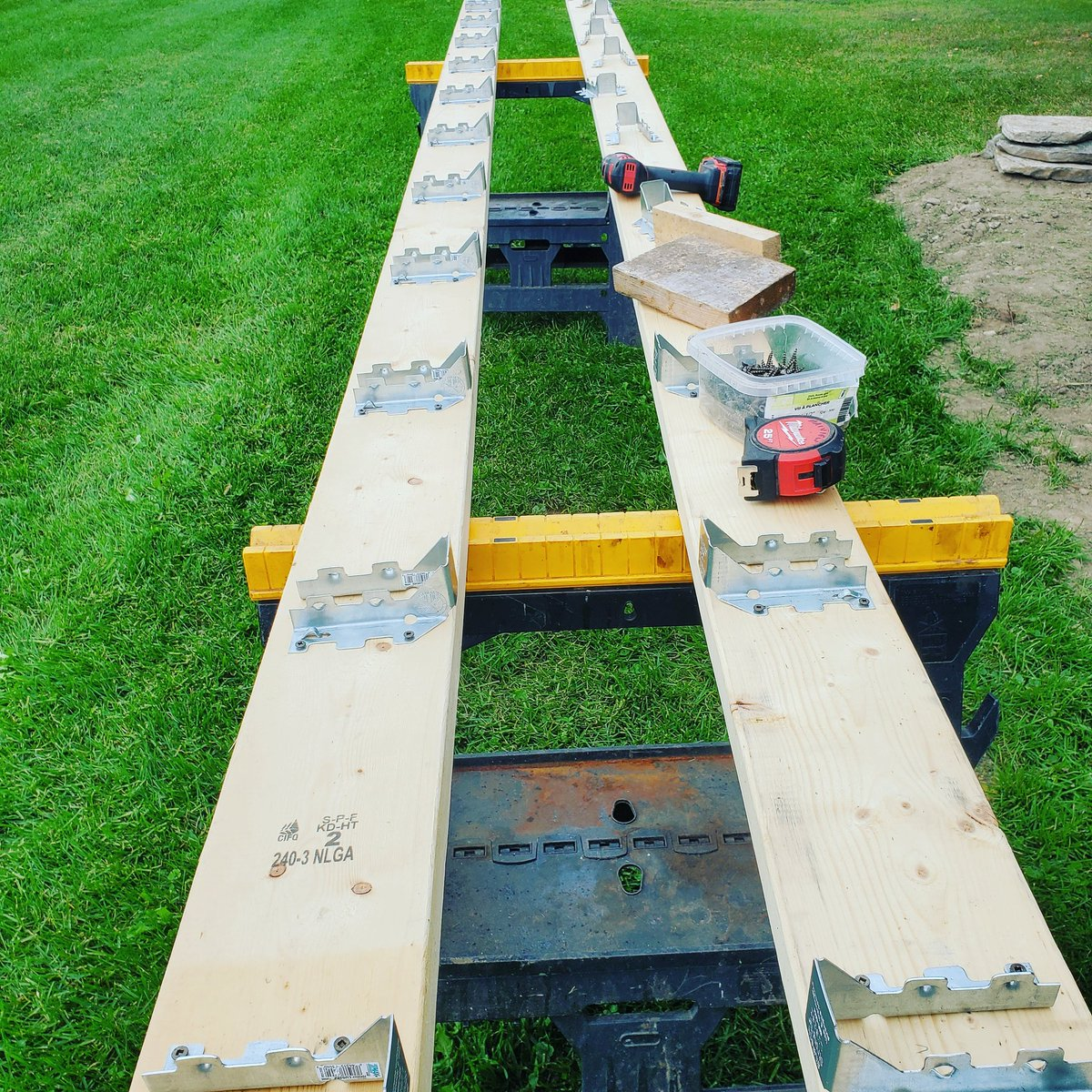 Joist hangers are on - ready to make a floor!  #sheshed #AprilsGetaway #outdooroffice #soexcited https://t.co/3loQMQIz59
