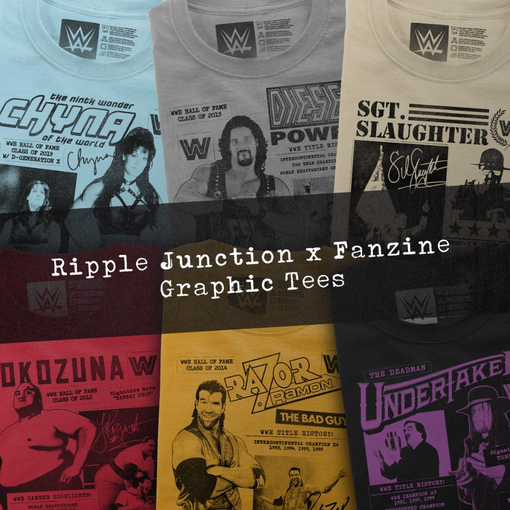 Get nostalgic with these #WWE Legend Fanzine T-Shirts! Each design features a WWE Legend with their nicknames, achievements, and accolades! Collect all of our #WWE @RippleJunction Fanzine T-shirts today at #WWEShop!  https://t.co/N1lDtmGf0F https://t.co/UbCkWkAvIk