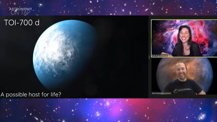 Astronomy on Tap happening right now!    Dr. Angus from the @AMNH, @FlatironInst and @Columbia presenting TOI-700 d! She will be back in a moment to answer questions!   YouTube Live link: https://t.co/e7HhvlRgNA  #astronomy #astrophysics #cosmology #space #WomenInSTEM https://t.co/rk8HyVq6Or