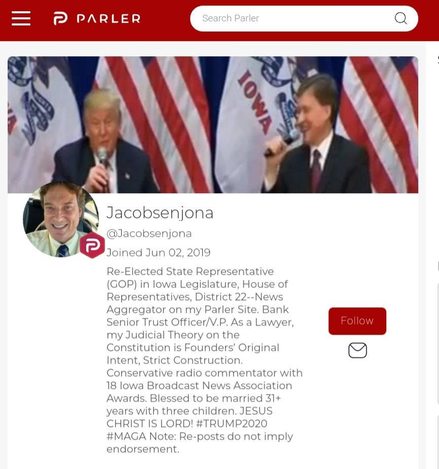 Here is my opponent's Parler profile (right wing Twitter.)  And here is my donation link if you'd like for him to no longer be an elected official: https://t.co/auDK7tU3hl https://t.co/cdVKXCOQd8