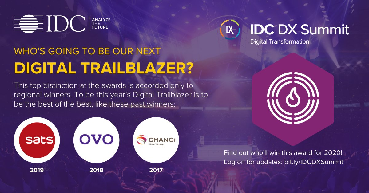 To win the top accolade – Digital Trailblazer – in #IDCDXa means to be the best of the best, just like these past champions: @SatsGroup, @ovo_id & @ChangiAirport. Let's all find out who'll win this prestigious award on 21-23 Oct! Visit https://t.co/mLHnZylHrv to know more https://t.co/h7oA2I2XMh