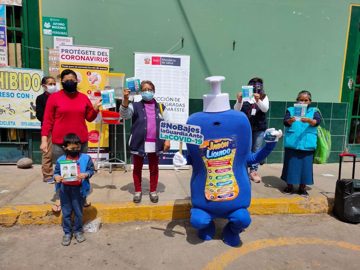 Hoy visitamos el centro comercial Lampa de Oro, en Santa Anita, para recordar a comerciantes y consumidores la importancia de prevenir el contagio de la #COVID19 mediante el correcto lavado de manos, el uso de mascarilla y respetando el distanciamiento. #LaSaludDependeDeTodos https://t.co/uNhrebeFdN