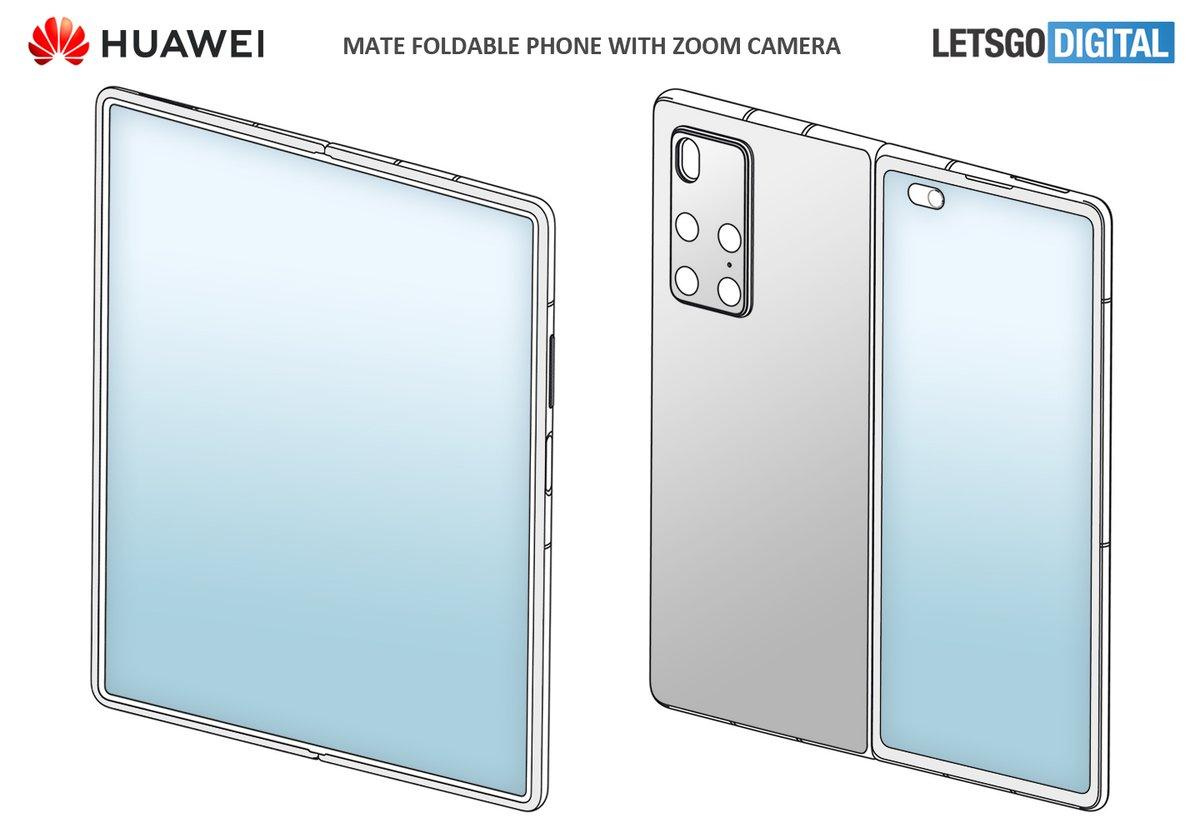 Huawei Mate X2 foldable phone with periscopic zoom camera. Similar design as the Samsung Galaxy Z Fold 2 (Design Patent) https://t.co/QQe7bFOuC3 #huawei #Fold2 https://t.co/ta2RGzsn8f