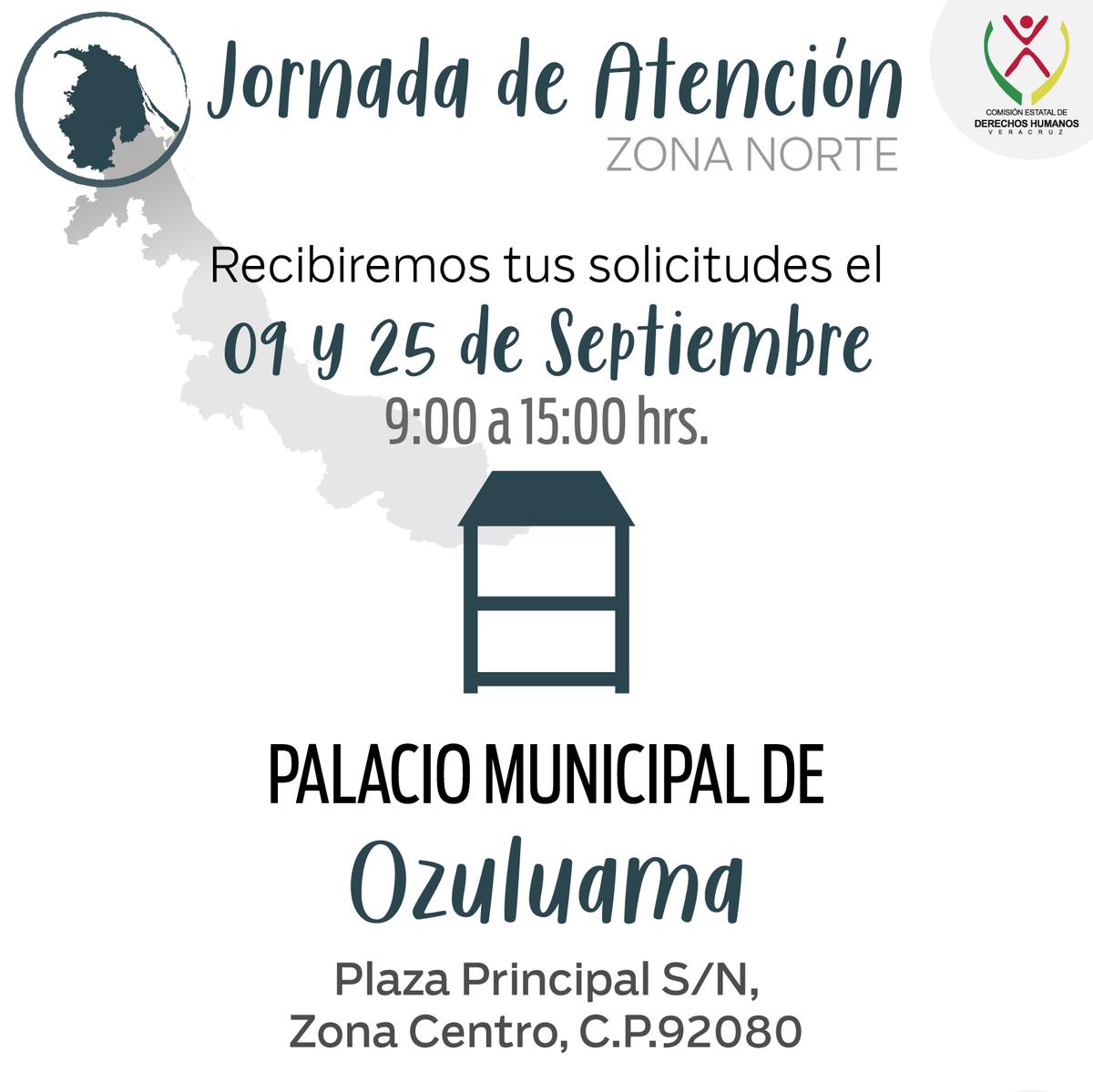 ¿Sufriste alguna violación a tus derechos humanos? Acude a la Jornada de Atención Zona Norte en #Ozuluama mañana 25 de septiembre de 9:00 a 15:00 hrs. https://t.co/v2Vz7oTJ1T
