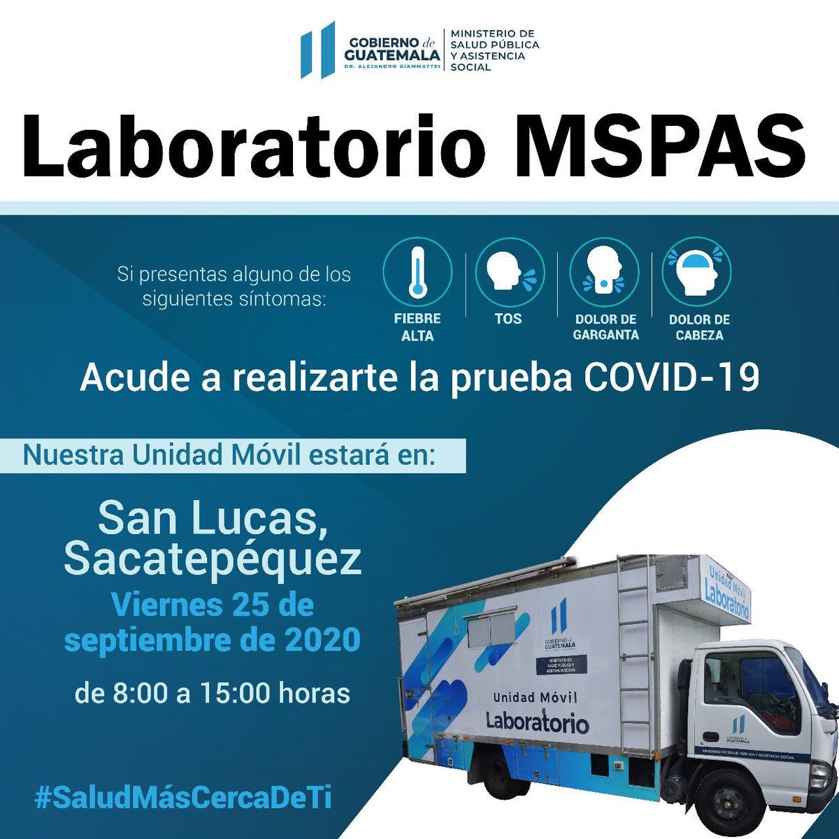El #LaboratorioMóvil continúa mañana 25 de septiembre 2020 en Santa Lucas, #Sacatepéquez de 8:00 a 15:00 horas.   Si presentas alguno de los siguientes síntomas, acude a realizarte la prueba #COVID19 🤒  #SaludMásCercaDeTi https://t.co/cn1EdbfEoI
