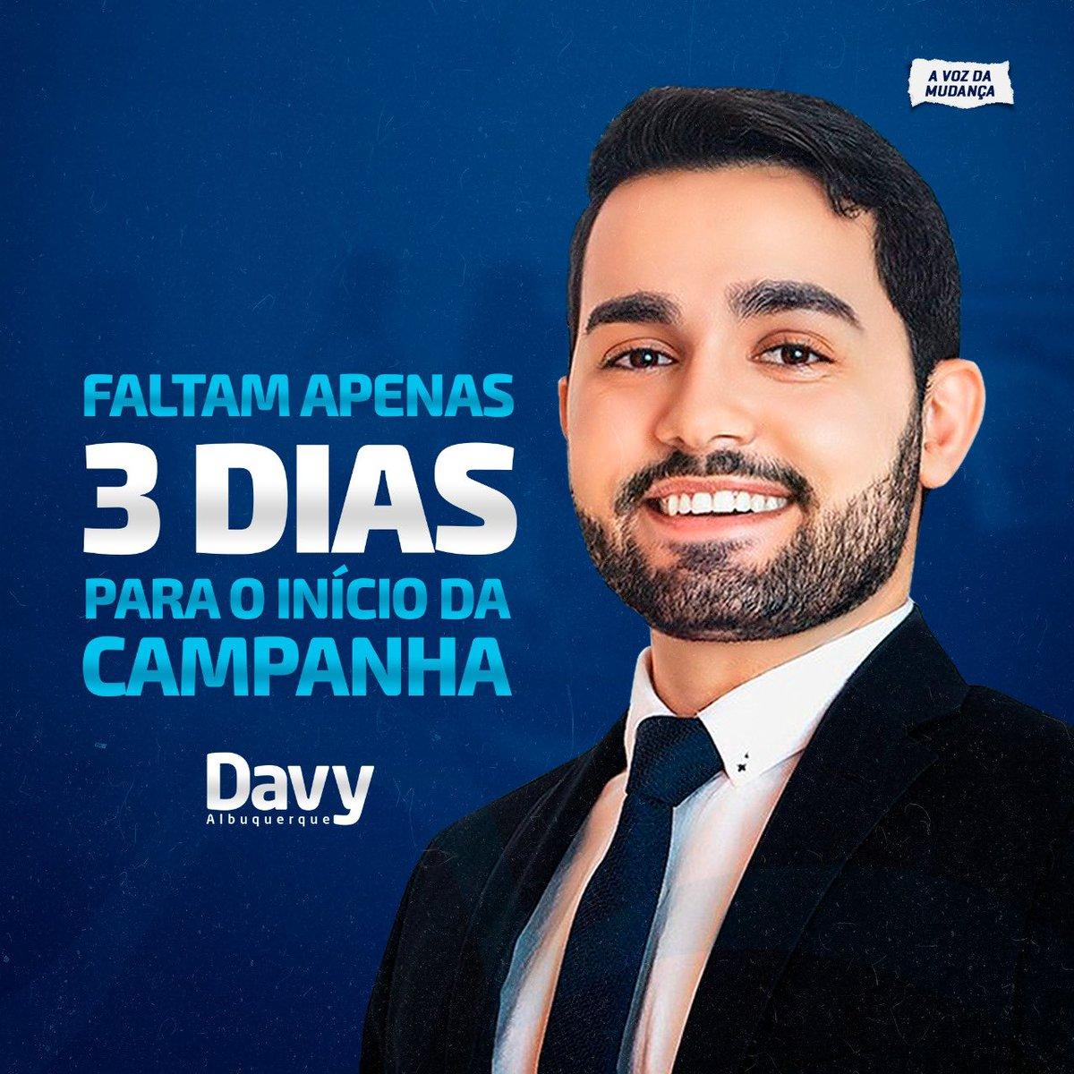 Faltam apenas 3 dias para o início da minha campanha eleitoral para vereador do Rio de Janeiro!  Estão prontos para iniciarmos o processo de uma verdadeira mudança no Rio de Janeiro?  #DavyAlbuquerque #RioDeJaneiro #aVozDaMudança https://t.co/4YVFGLlGD9
