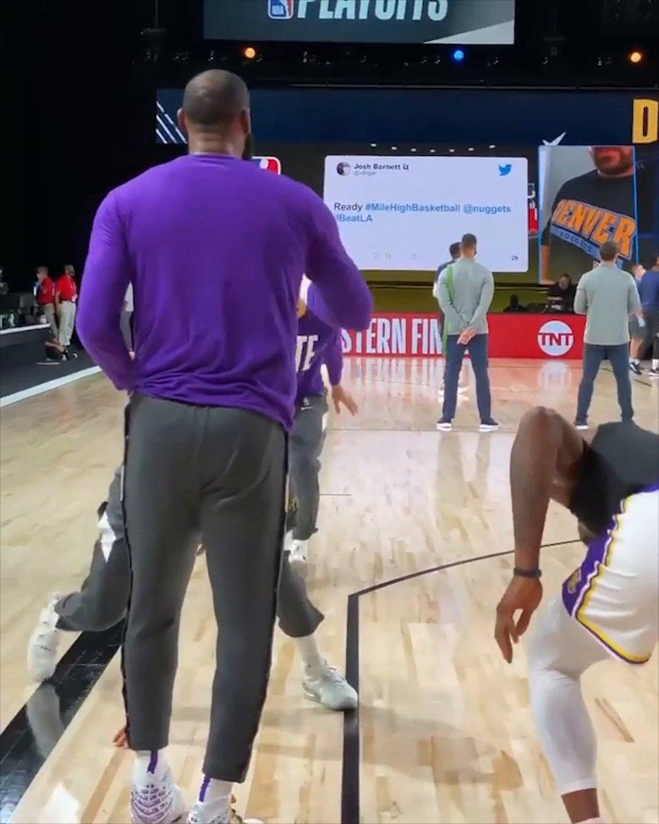 The Lakers are always having fun pregame 😂  (📷 @OmarESPN) https://t.co/VpH5fQcg0q
