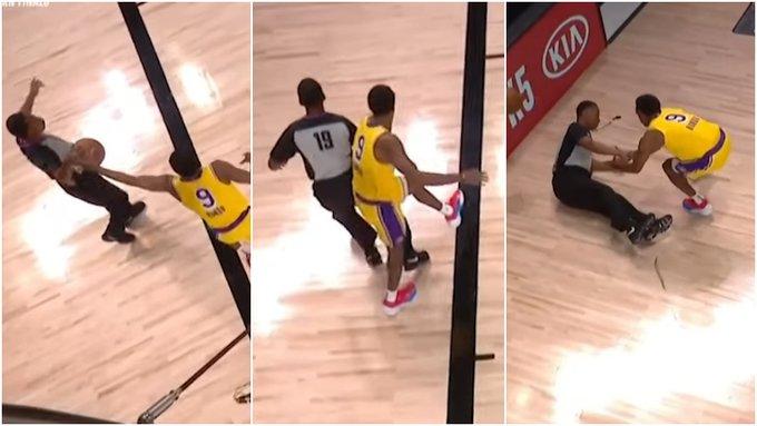 【影片】剎不住車!Rondo為救球不慎直接撞飛底線裁判,金塊後補席打趣:惡犯了啊!
