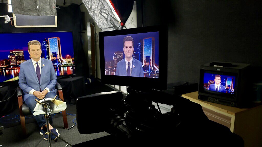 Successful live shot on @seanhannity with @RepMattGaetz in our studio!  #news #politics #liveshot #studioshoot #crewlife #livetelevision #bts #spectrumjax https://t.co/1i0LpmOdsx