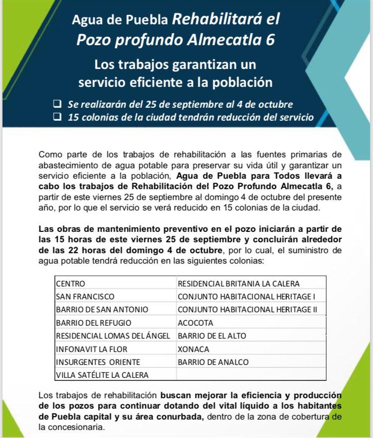 #Atención 📢 por obras de @AguadePuebla a partir de este viernes 25 de septiembre y hasta el 4 de octubre habrá reducción del servicio en agua 💧 en 15 colonias de la ciudad de #Puebla.  Detalles 👇🏻: https://t.co/fC2unMBVjj