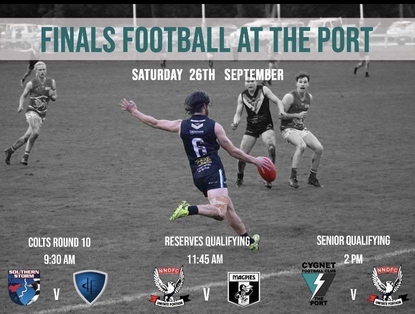 If you love community footy, make sure you get to Cygnet or Lindisfarne tomorrow to see some top quality SFL finals action. Seniors start at 2 at Cygnet and 2.30 at Anzac Park. https://t.co/RlV3IDjmH7