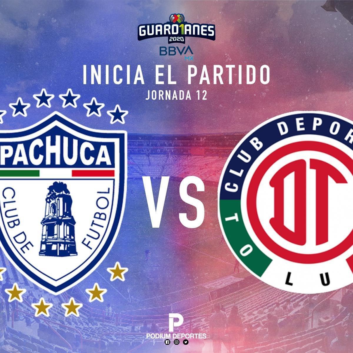 #LigaBBVAMx   Rueda el balón en el Huracán 🌪    #Pachuca 🐹 🆚  #Toluca 👹  #Jornada12 #Guard1anes2020  #TuCasaTuCancha https://t.co/iCuF6R3ICM