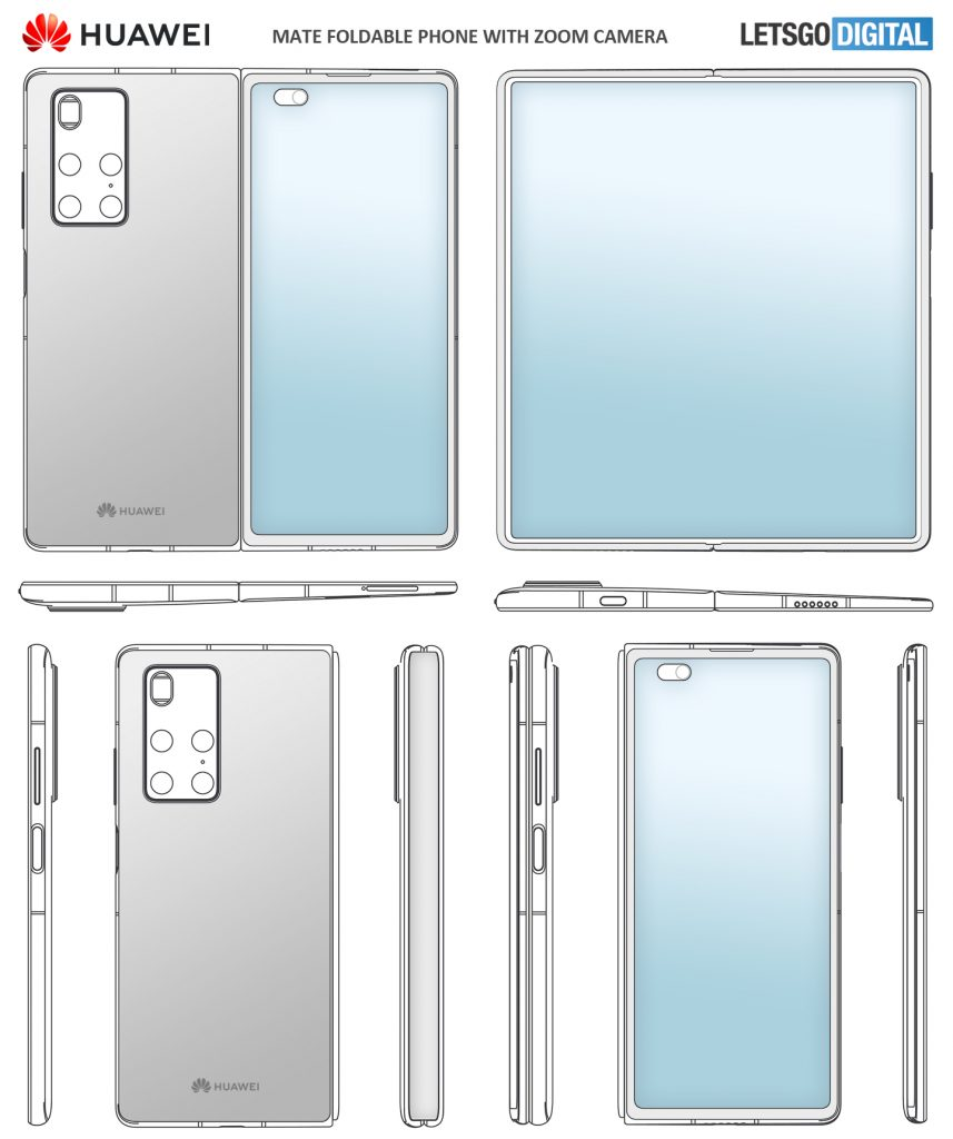 Huawei Mate X2 foldable phone Patent with periscopic zoom camera. Design is Similar as the Samsung Galaxy Z Fold 2  #huawei #Fold2 https://t.co/Lc7YIKzTEP