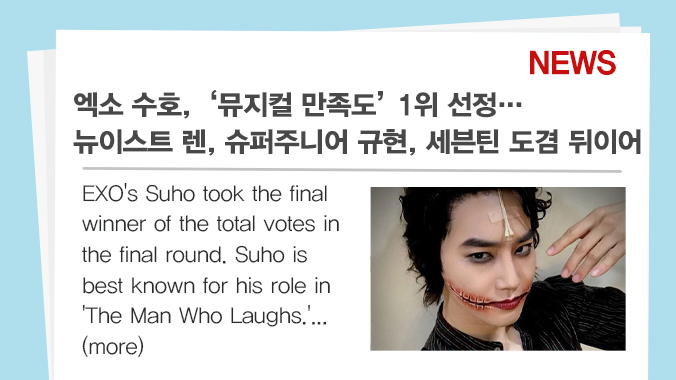 [#IDOLCHAMP_NEWS📄]  #엑소 #수호, '뮤지컬 만족도' 1위 선정! #EXO's #Suho as the Acting Idol Who Never Disappoints with His Performance in Musicals (출처 : MBC연예 | 네이버 TV연예)   Likes❤ KOR https://t.co/43FApBvl4c ENG https://t.co/0Y4OFBnomq https://t.co/MTK7q9ha6b