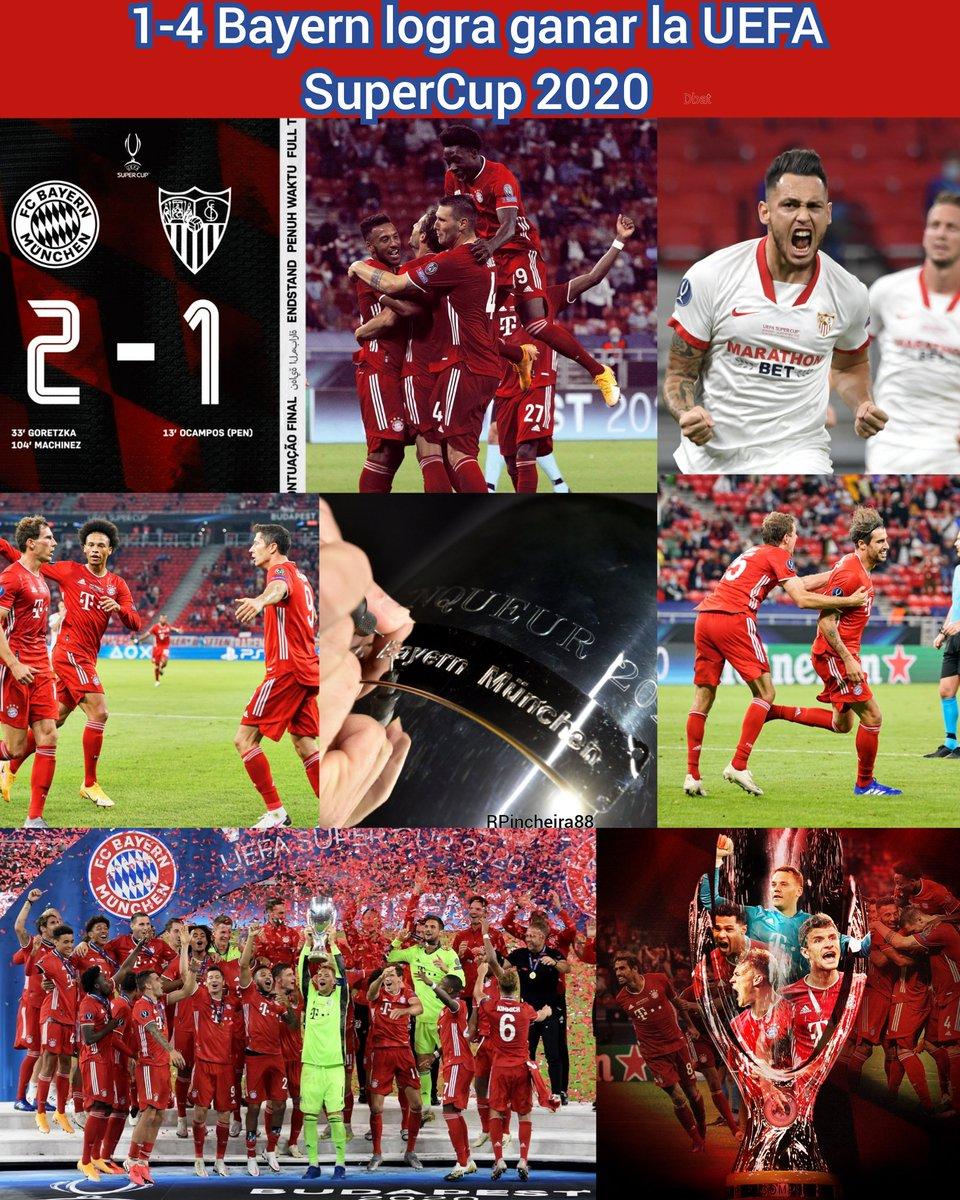 #24Septiembre Bayern sigue siendo invencible esta temporada hasta ahora a logrado conseguir la Copa Alemana , Bundesliga, Champions League y ahora y gano la Super Copa de Europa ( Super Cup ) @FCBayernES Dbat #SupercopaDeEuropa #Bayern #BayernMunich #Sevilla #SevillaFC #SuperCup https://t.co/BOS3HeXYJO