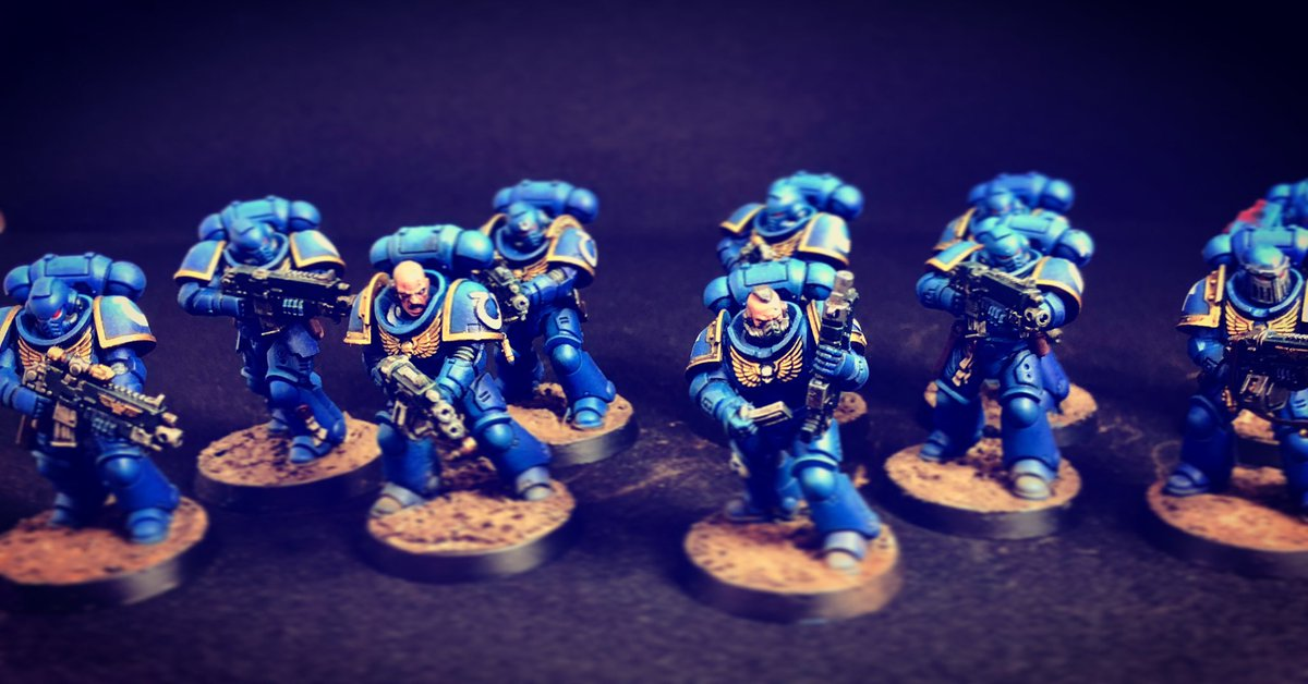 Courage and Honour! Intercessors complete. Commission piece. #warhammer40000 #warhammer40k #spacemarines #ultramarines #primarisspacemarines #primarisintercessors #paintingwarhammer #paintinggamesworkshop #warhammercommunity @warhammerofficial https://t.co/CoIsZS7cUy