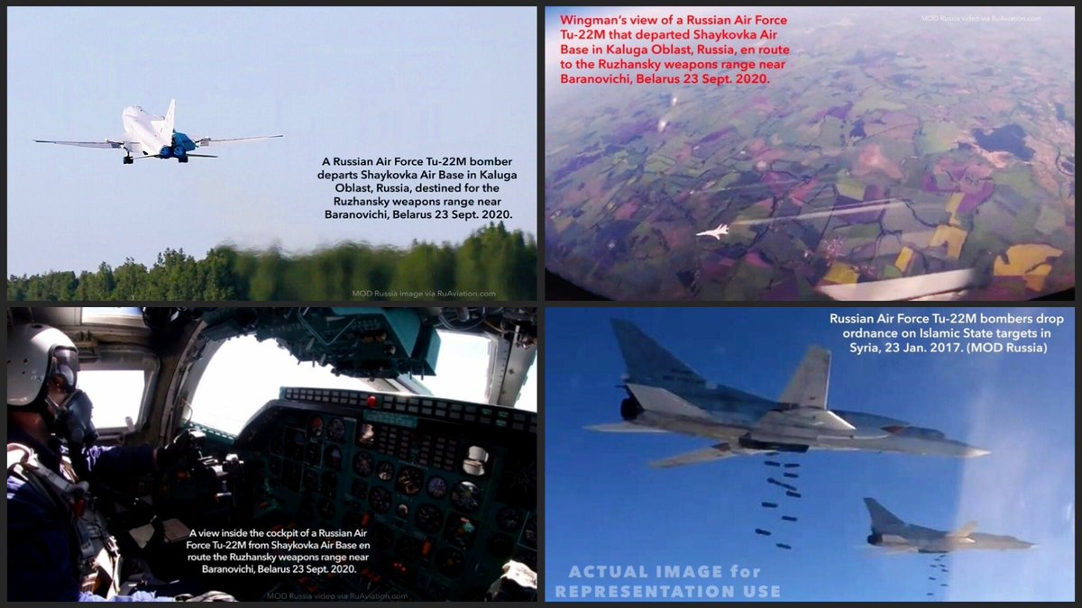 …The #Belarus C3 drills were at least partly associated with Russian AF bomber missions. In addition to the 2x Tu-160 mission on Tue, 22 Sept, six Tu-22M bombers from #Russia's Shaykovka Air Base made live bombing range runs on Wed, 23rd. –@RuAviation >https://t.co/8qRMVgpNpG https://t.co/6LLWxMrEmx