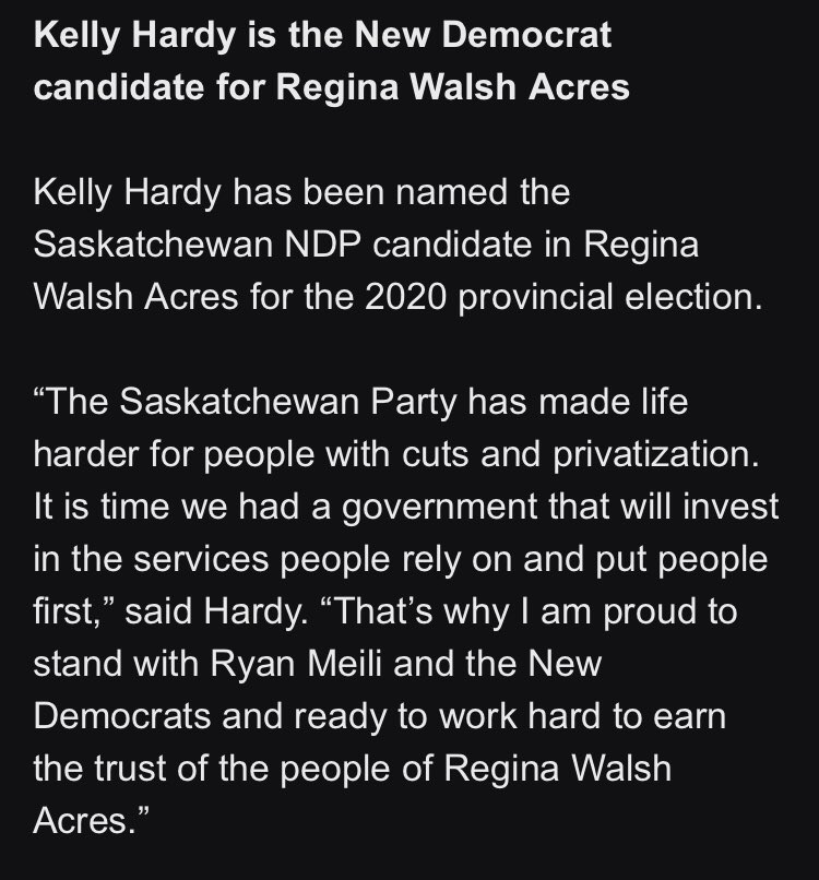 Deleted an earlier tweet that says Hardy has been nominated as the new candidate for Regina Walsh Acres, when in fact she's been named. #skpoli https://t.co/2TzpqppZT0