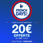 Image for the Tweet beginning: 🐓 FRENCHDAYS🐓 20€ OFFERTS dès 100