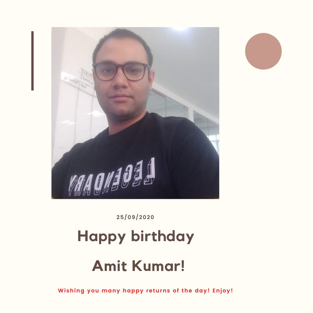 Dear Amit!  We wish you a year filled with health, happiness, and prosperity on your birthday.   May you keep working hard towards success and achieve all the goals you desire for.   Happy birthday 😊  #birthday2020 #happybirthday #awesomehr #employees #softobiz #awesomehr https://t.co/n5woOQltdF