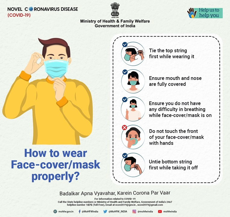 #IndiaFightsCorona  Know how to wear face-cover/mask properly. It is the most effective way of maintaining personal hygiene.   #BadalkarApnaVyavaharKareinCoronaParVaar #TogetherAgainstCovid19 https://t.co/AqkRNMRBQ9