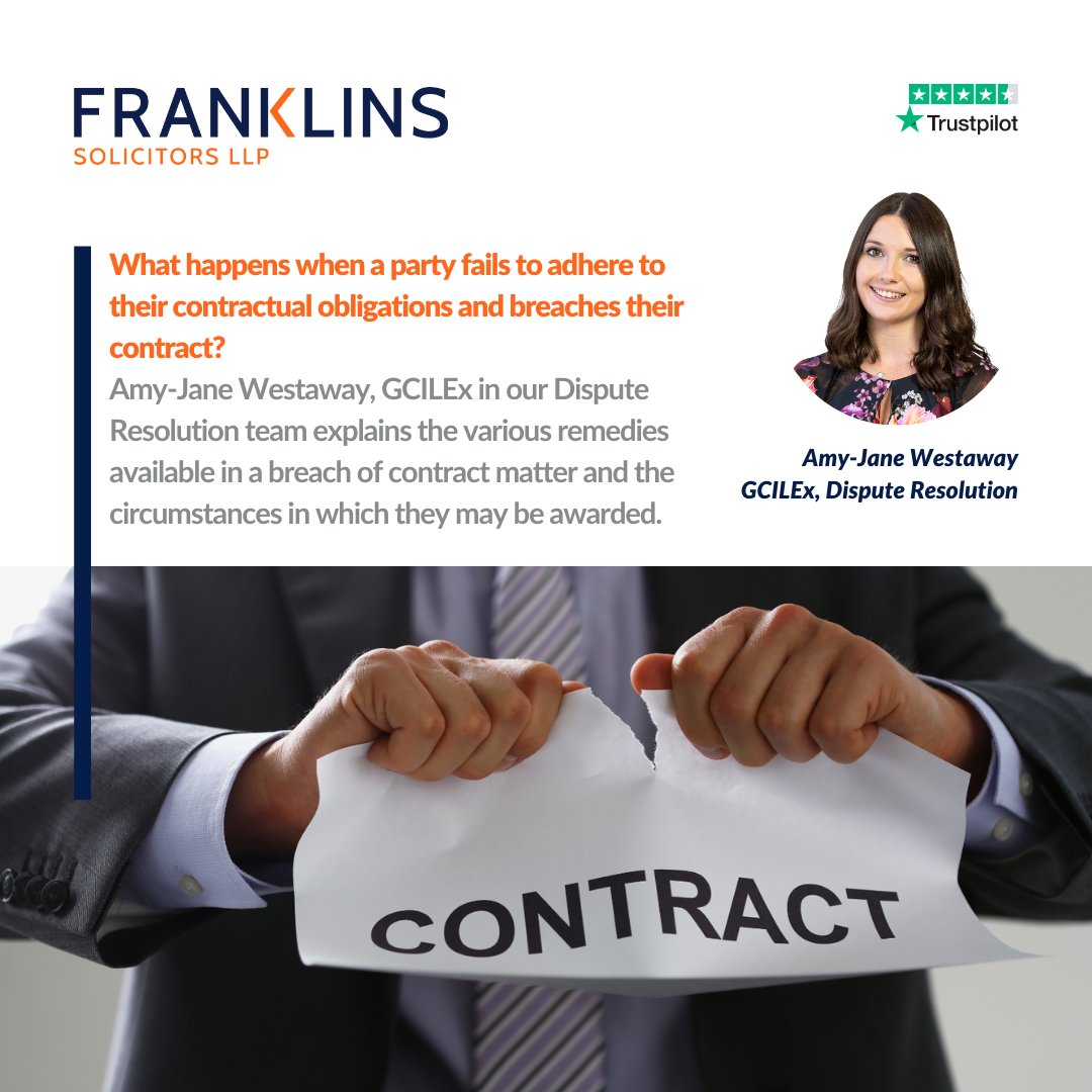 What happens when a party fails to adhere to their contractual obligations and breaches their contract? ❌ Amy-Jane Westaway, GCILEx in our #DisputeResolution team explains the various remedies available in a #BreachOfContract matter: https://t.co/CAYmqqVs4Z #ForYouForBusiness https://t.co/N4ynoLx0rp