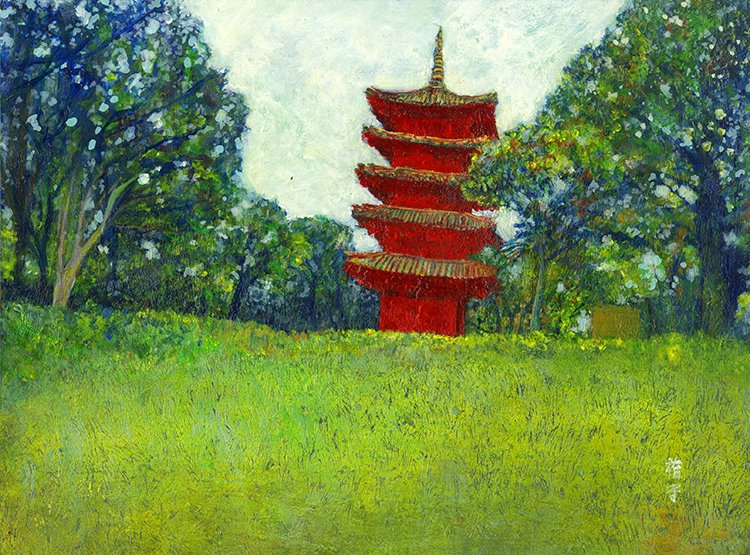 赤い建物  2016年  アルキド樹脂絵具、オイルパステル、紙  228×308mm  https://t.co/uEPdU1e11F  #red #絵画 #風景画 #上野 #art #painting #landscape https://t.co/MrCabI0dIK