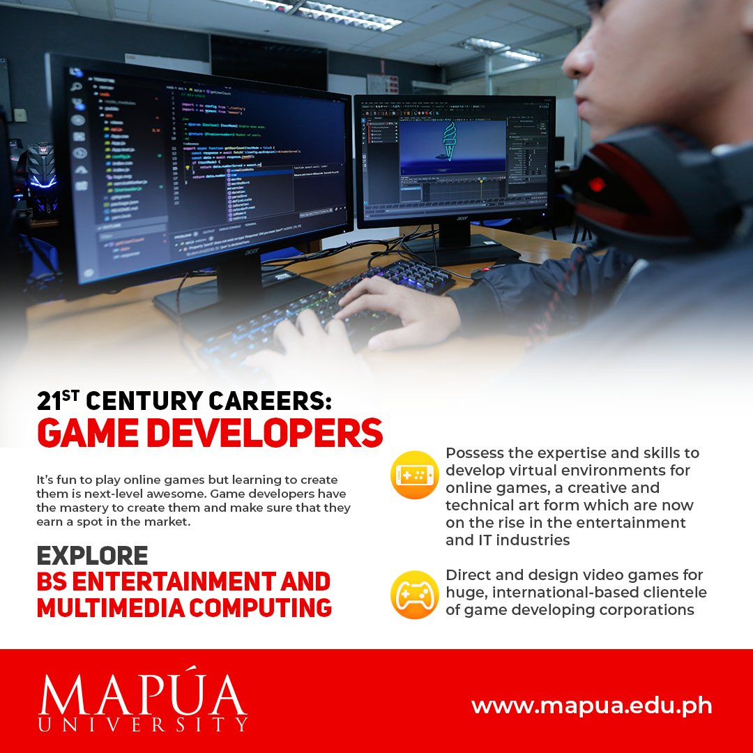 Immerse yourself in the future of entertainment with Mapúa University's Bachelor of Science in Entertainment and Multimedia Computing program. https://t.co/Tt5jjpSm7n