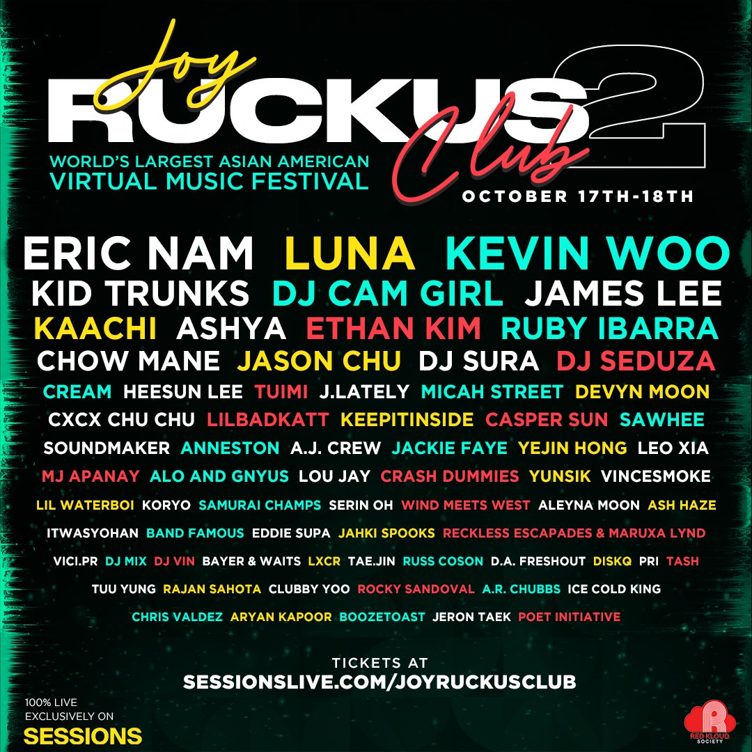 Live set at the biggest Asian American virtual music festival ever! Oct 17-18 PT. Tickets: https://t.co/9e1gKXSxEa  #livestream #asianamerican #sessionslive #virtualconcert #virtualfestival #joyruckusclub https://t.co/YAgN66WOO3