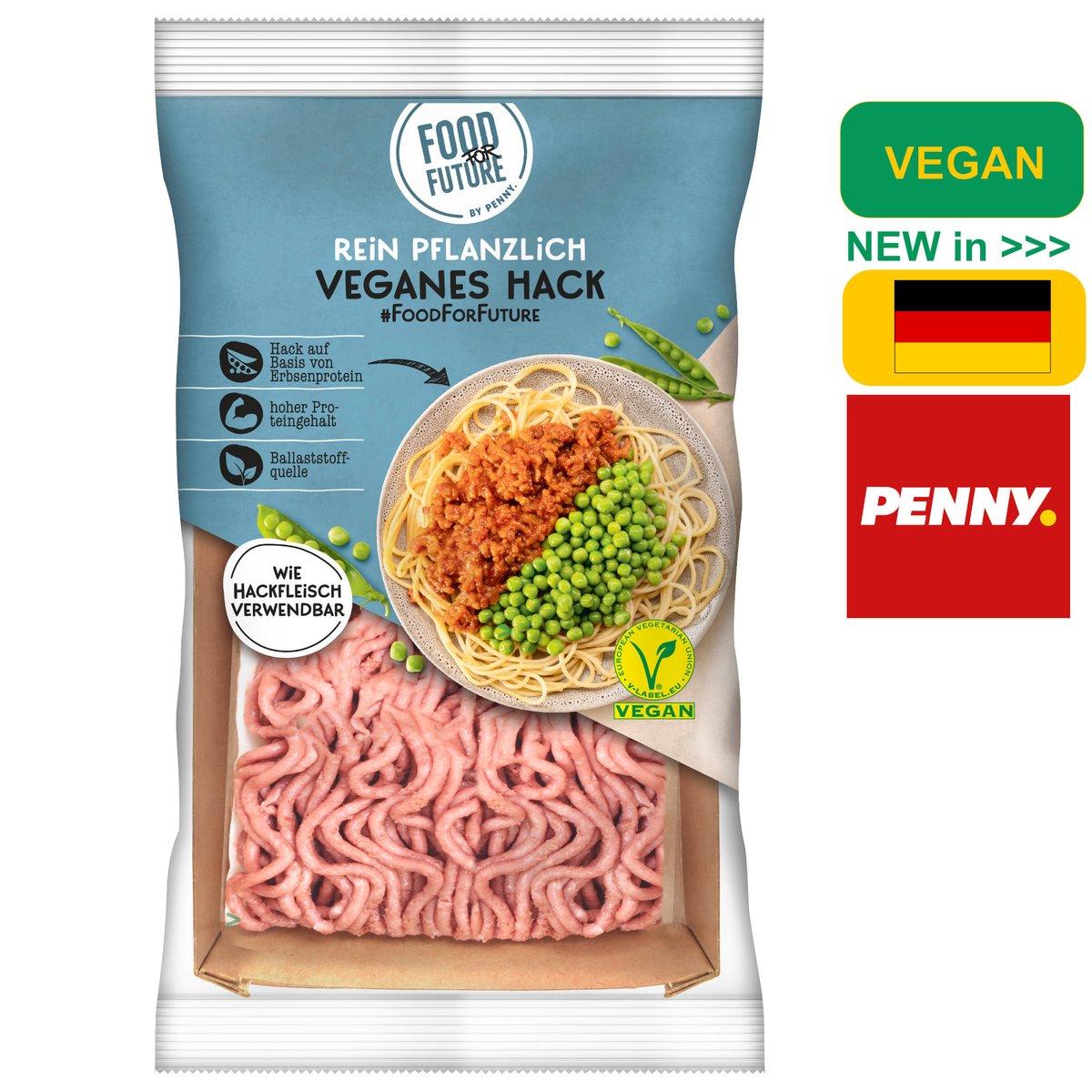 """Penny startet mit der Marke """"Food for Future"""" als erster Discounter eine übergreifende vegane Eigenmarke. Zuerst mit  """"veganem Hack"""" und """"veganen Burger Patties"""" auf Basis von Erbsenproteinen - ab sofort und dauerhaft erhältlich.  #vegan #hack #veganeshack #penny #foodforfuture https://t.co/clogUD0fHc"""