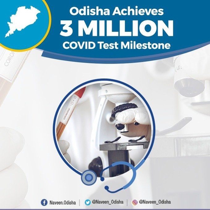 It gives me immense pleasure to share that we have reached 3 million #COVID19 test milestone. Thank healthcare personnel and all those who are working round the clock to ramp up testing, strengthening #Odisha's fight against the pandemic.   #OdishaCares https://t.co/XQRnNLJJ0I