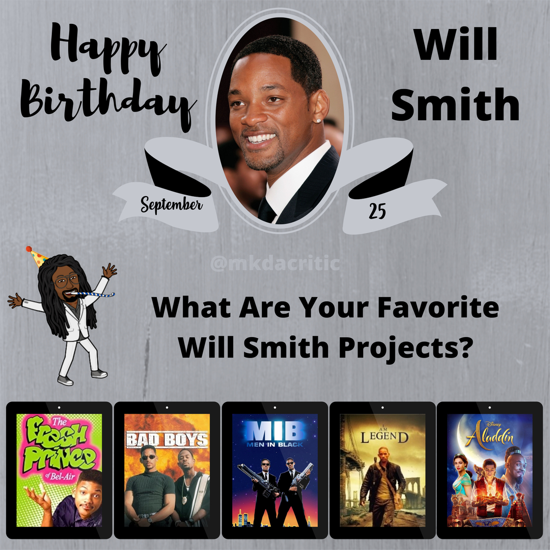 #HBD #WillSmith #actor #producer #rapper #Aladdin #IAmLegend #MeninBlack #BadBoys #TheFreshPrinceofBelAir #Favorite #Movies #question #film #drama #video #horror #director #netflix #like #comedy #follow #film #hollywood #HappyBirthday #mkdacritic https://t.co/qRCtom0Kf1