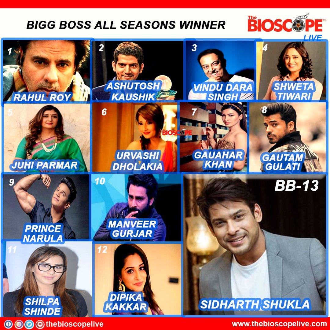 BIGG BOSS all season winners.  @RealVinduSingh @Urvashi9 @GAUAHAR_KHAN  @TheGautamGulati  @princenarula88 @imanveergurjar @ms_dipika @sidharth_shukla  @BeingSalmanKhan  @ColorsTV   #RahulRoy  #ShwetaTiwari  #juhiparmar #ShilpaShinde  #biggboss2020 #bollywood #thebioscopelive https://t.co/oVUjMgC1lm