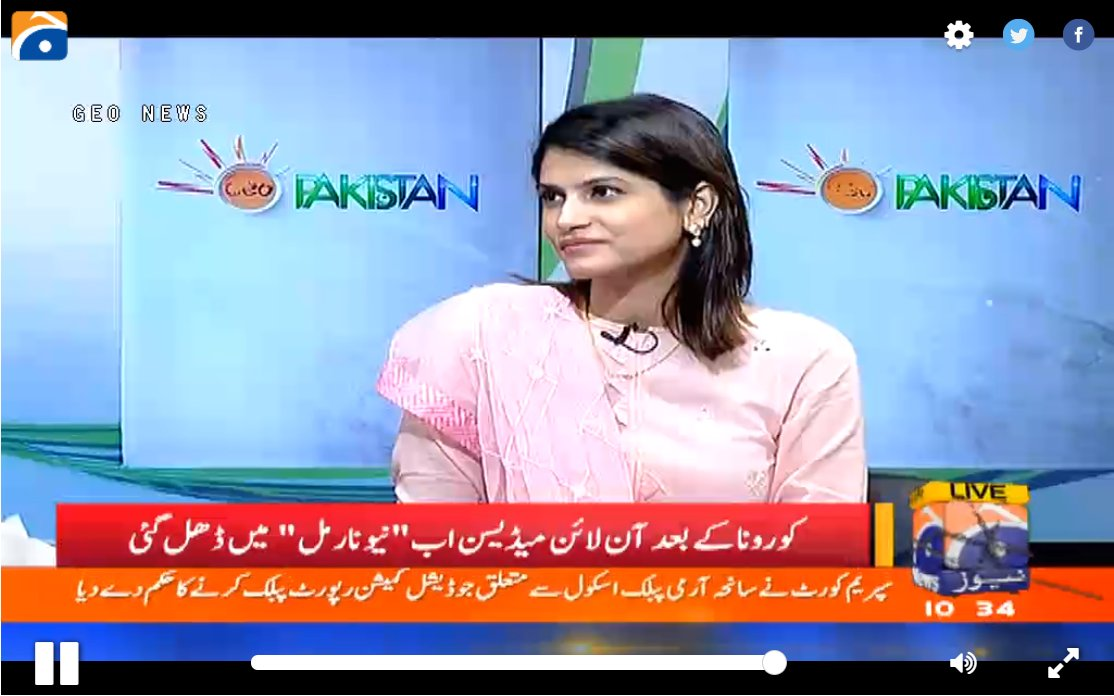 Tune in now to watch Dr. Sara Saeed, CEO and Cofounder Sehat Kahani live on  @geopakistantv  to discuss life after COVID and the role Sehat Kahani has played during this health crises   Watch Live on: https://t.co/QgFursjL0n  #GeoNews #telehealth #Telemedicine #COVID19 https://t.co/XksT1DbdOw