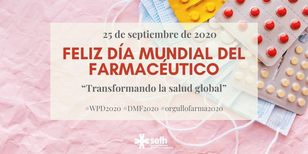 """🎉💊👩🏻🔬Feliz #DiaMundialdelFarmaceutico   Hoy celebramos nuestra profesión y nos sumamos al lema """"Transformando la salud global"""" para reconocer el valioso papel que, ahora más que nunca, tenemos los farmacéuticos de todos los ámbitos  #WorldPharmacistDay #WPD2020 #orgullofarma2020 https://t.co/fhh8SUe1gW"""