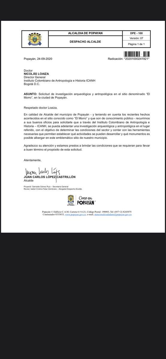 Alcalde de Popayán, Juan Carlos López, ha solicitado al ICANH, adelantar las investigaciones correspondientes para determinar el uso de el cerro El Morro. El Gobierno Nacional, acepta esta invitación y hará presencia en la mesa técnica. @mincultura @carmenIvasquez https://t.co/C9JpOg5cEk