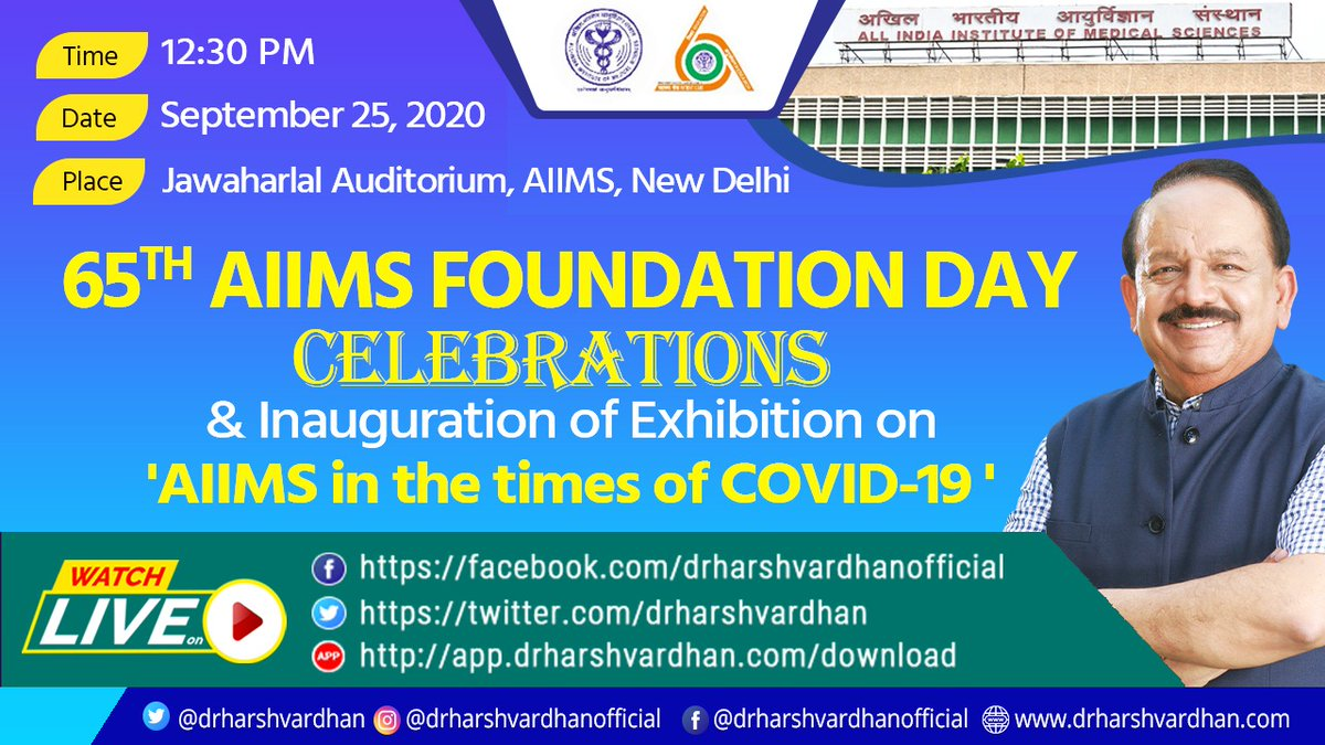 Delighted to be attending the 65th Foundation Day Celebrations of #AIIMS, Delhi today.  I will also be inaugurating an exhibition on 'AIIMS in times of #COVID19'  #WatchLive !!  https://t.co/hC0QXEAPcV https://t.co/fJImeR9axx https://t.co/OPeFB5gIQZ    @MoHFW_INDIA https://t.co/1EdBulf4DK