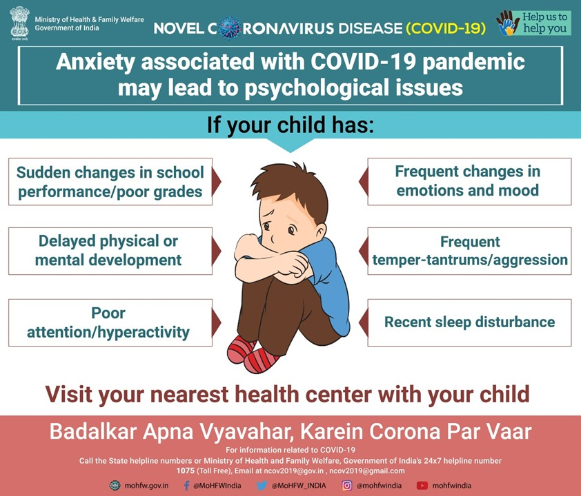 #IndiaFightsCorona  Children may experience a range of psychological issues such as anxiety, fear or worry. For psychosocial support, please call NIMHANS toll free helpline #080-46110007.   #BadalkarApnaVyavaharKareinCoronaParVaar #TogetherAgainstCovid19 https://t.co/eQpV8kdK0F