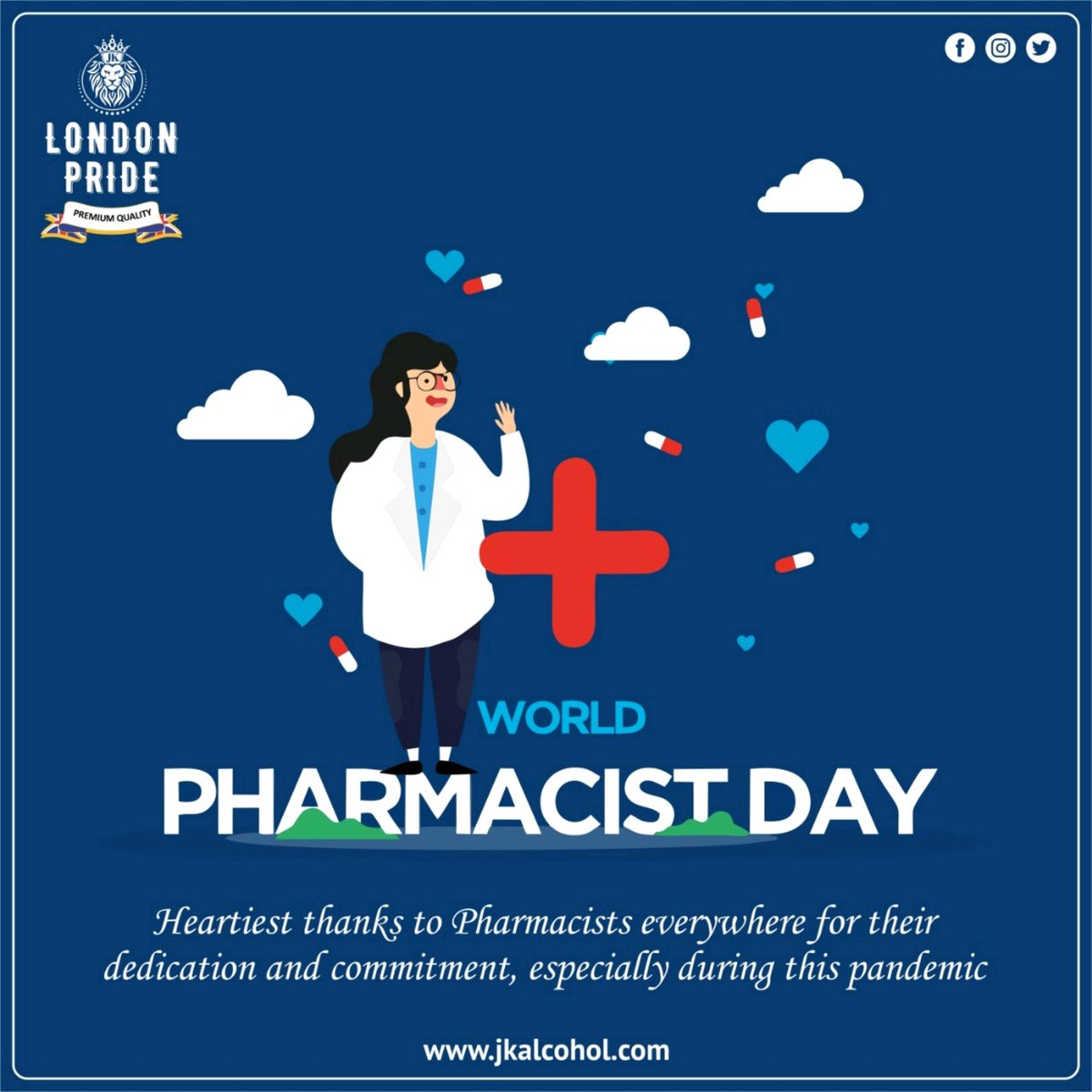 On this World Pharmacist Day, we thank all our courageous pharmacists for helping the communities stay strong and safe. #WorldPharmacistsDay #Pharmacists #Pharmacy #Medicine #GlobalHealth #Health #PatientsHealth #COVID19 #jkalcohol #Jkgroup #JkEnterprises #londonpride https://t.co/7UvUjQ6Rsa
