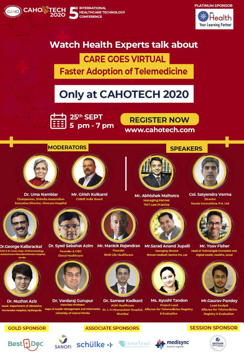 Today (25th September 2020, 1700 to 1900 hrs) at CAHOTECH 2020 we are presenting DCHCN Model- first of its kind evaluation framework modelled on maturity of the telemedicine solution. #telemedicine  @DigitalHealth91 @CAHOindia @HIMSSIndia @CIOCHIMEINDIA @NRCeS https://t.co/IK48aGM4HT