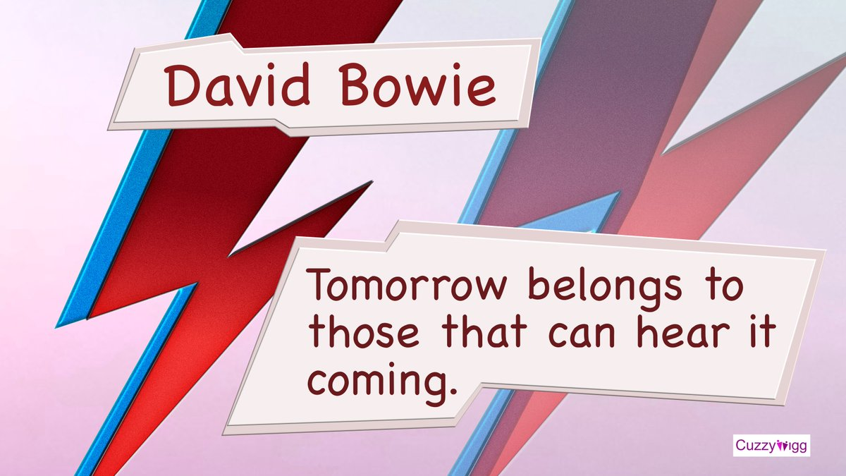 With the world rapidly changing all around us, we thought we would share this inspiring quote from David Bowie: Tomorrow belongs to those that can hear it coming.  #quotes #quote #quoteoftheday #support #MotivationalQuotes #InspirationalQuotes #inspiration #Bowie https://t.co/Y8xgelte61