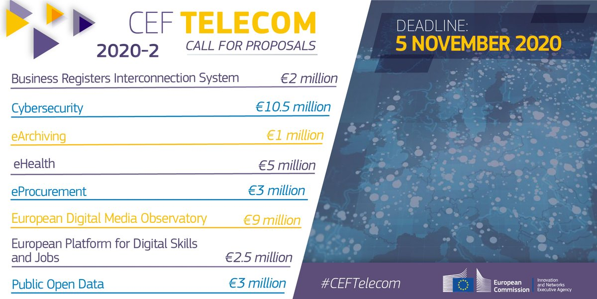 Do you have a proposal to connect Europe digitally?  Apply now to the €36 million #CEFTelecom call:   ➡️ #BRIS ➡️ #CyberSecurity  ➡️ #eArchiving ➡️ #eHealth  ➡️ #eProcurement ➡️ #EDMOeu ➡️ #DigitalSkills ➡️ #OpenData  👉 https://t.co/jGQBXrjQnX #ConnectingEurope https://t.co/gIVu0nLgKQ