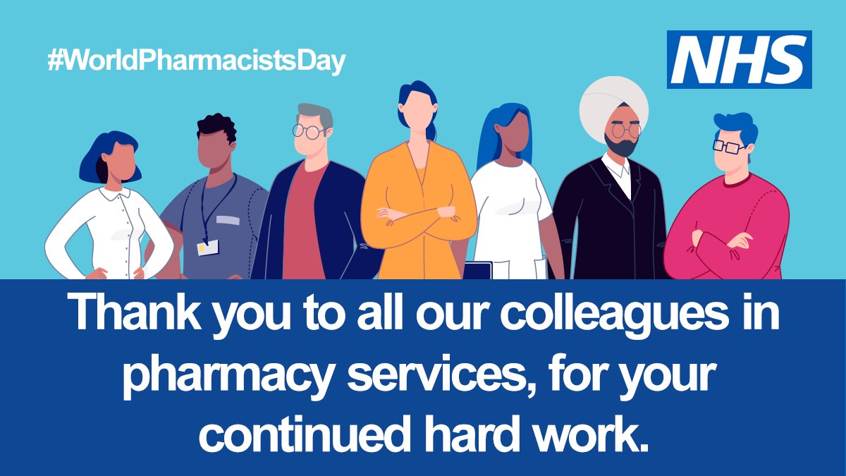 Today is #WorldPharmacistsDay! We'll be spending the day celebrating and thanking our incredible pharmacy colleagues across the country — thank you so much for all you do. 💙💊 #ThankYouNHS #WeAreTheNHS https://t.co/JZDeKcURXI