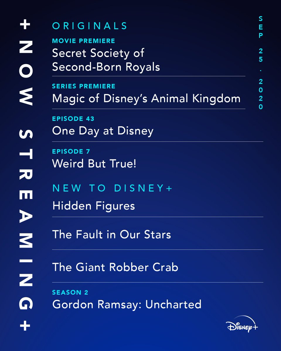We won't fault you for watching #DisneyPlus all weekend. Start streaming The Fault in Our Stars, Hidden Figures, and the premieres of Secret Society of Second-Born Royals and Magic of Disney's Animal Kingdom. #SSSBR #MoDAK #ItsfALLonDisneyPlus https://t.co/aZ5wRY3MB0