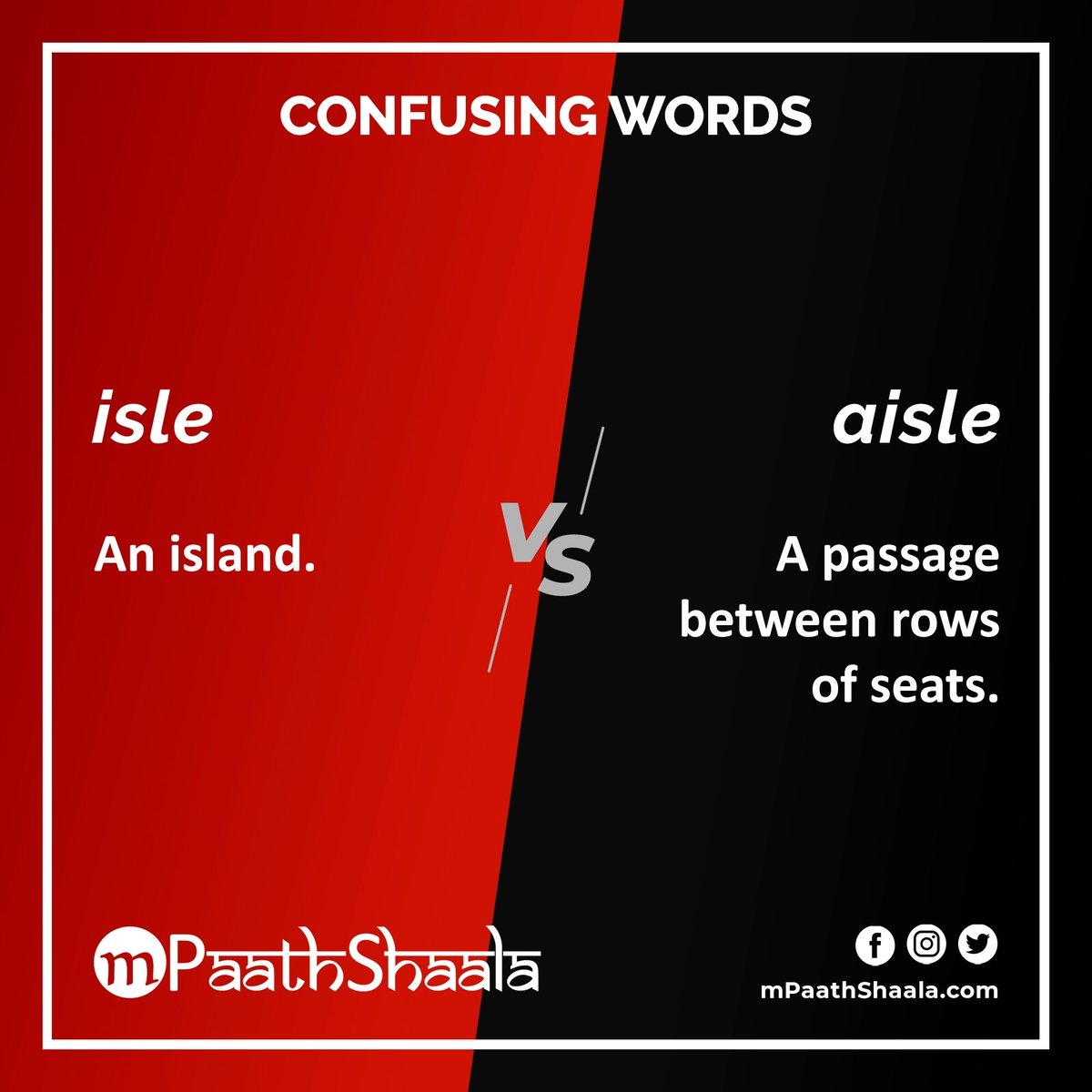 #ConfusingWords isle versus aisle   . #Vocabulary #English #EnglishVocabulary #IELTS  #TOEFL #Words #Spelling #Learning #Education #WordNerd #Homophones #Homonyms https://t.co/BXn47Ko6Q4