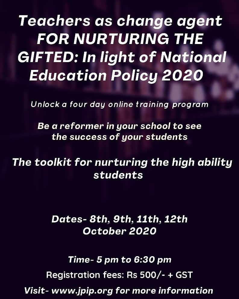 Lead the way and make a difference through this online training.  Registration will be opening soon on our website https://t.co/B6CrE9xJp8.  #webinaralert #gifted #giftedness #teachers #education #educationalinstitute #giftededucation #teacherstraining #nurturing #NEP #jpip https://t.co/WOlmR5nlyP