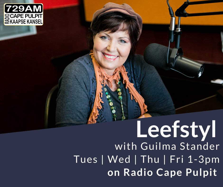 """Guilma Stander & Radio Cape Pulpit invite you to join our actuality programme """"Leefstyl"""" every Tuesday to Friday from 1pm to 3pm. Join the conversation on Radio Cape Pulpit 729AM, use our free apps or listen live https://t.co/Jjz6UbTXAp  #RadioCapePulpit #Inspire https://t.co/LWoMW6iNkS"""