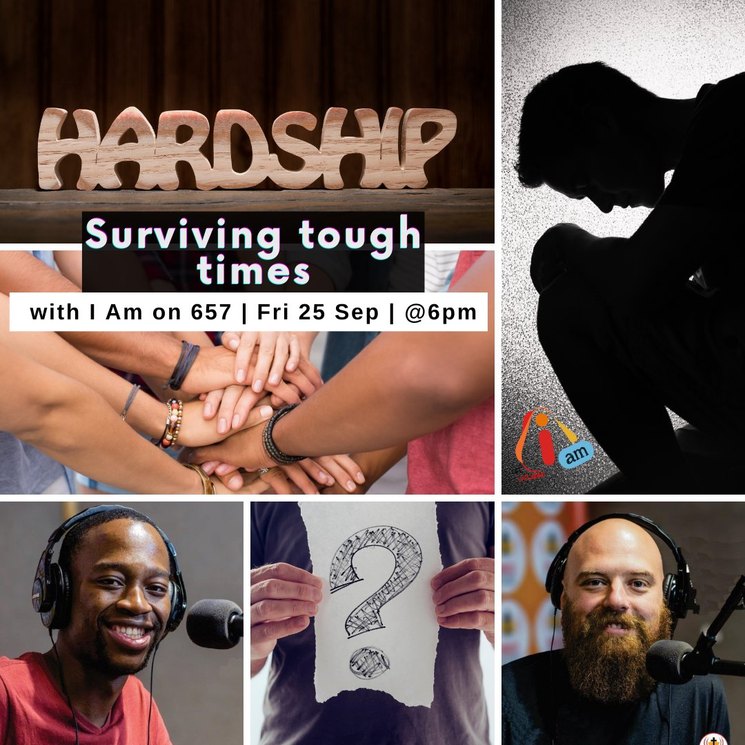 """Tune in tonight at 6pm!  HOW TO SURVIVE TOUGH TIMES.  Answers from the """"I Am on 657"""" team - don't miss their show this Friday (25 Sep) on 657AM, DStv channel 882, Open View channel 607, or listen live https://t.co/KxctnlE5e2  #lifeexplained #inspire https://t.co/hyEQ4u9Zdo"""